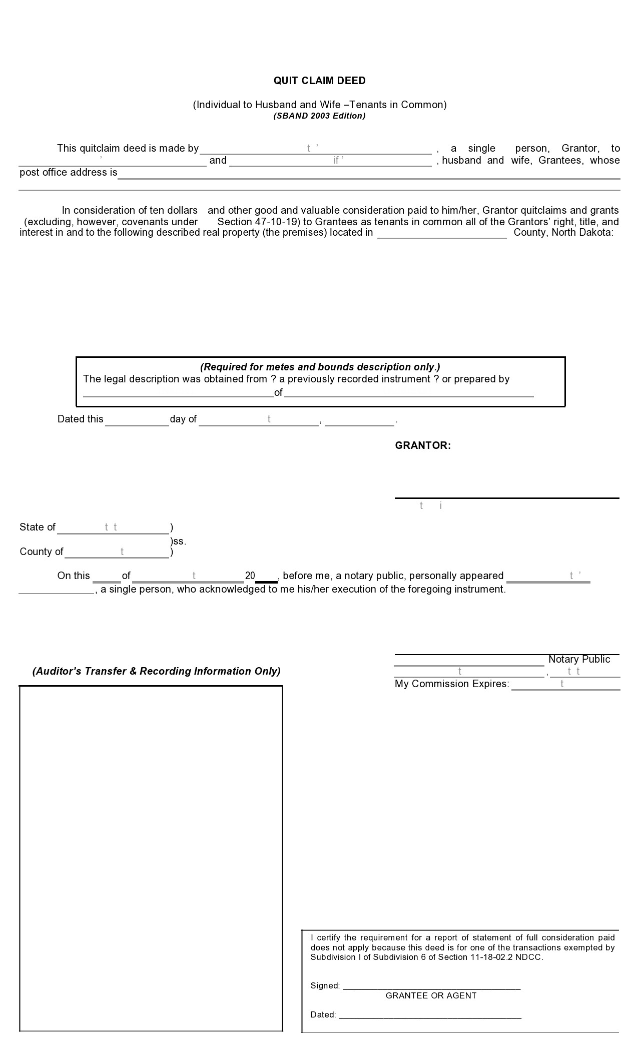 Free quit claim deed form 16