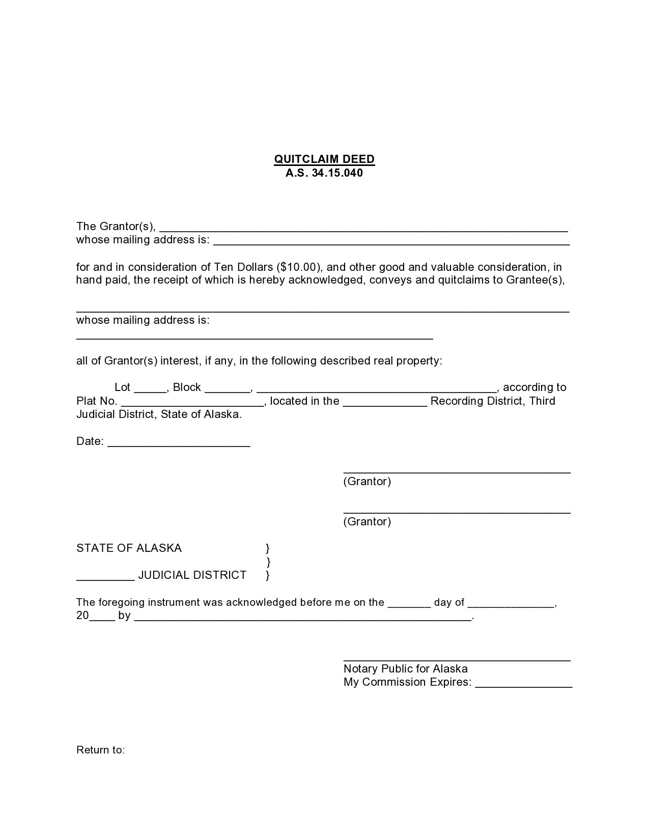 Free quit claim deed form 19
