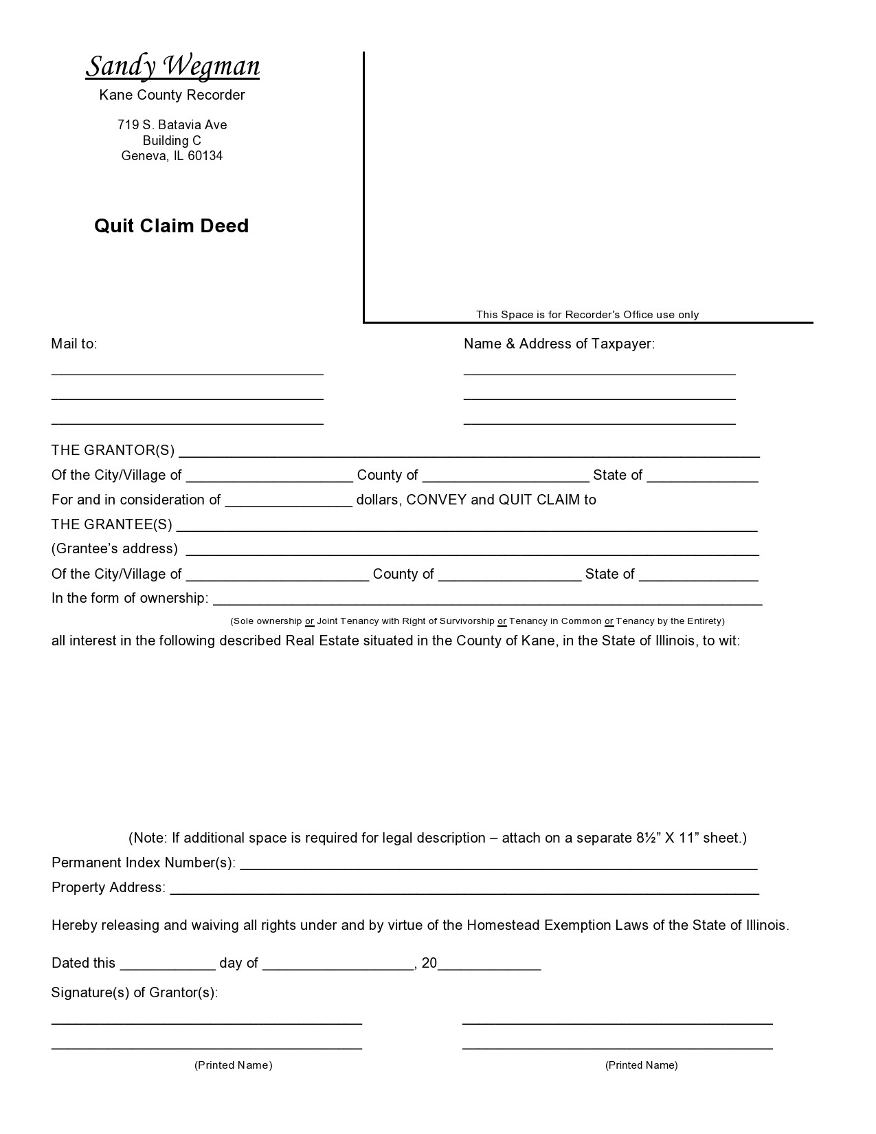 Free quit claim deed form 20