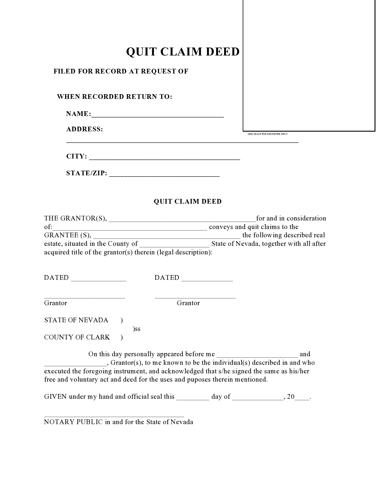 Free quit claim deed form 21