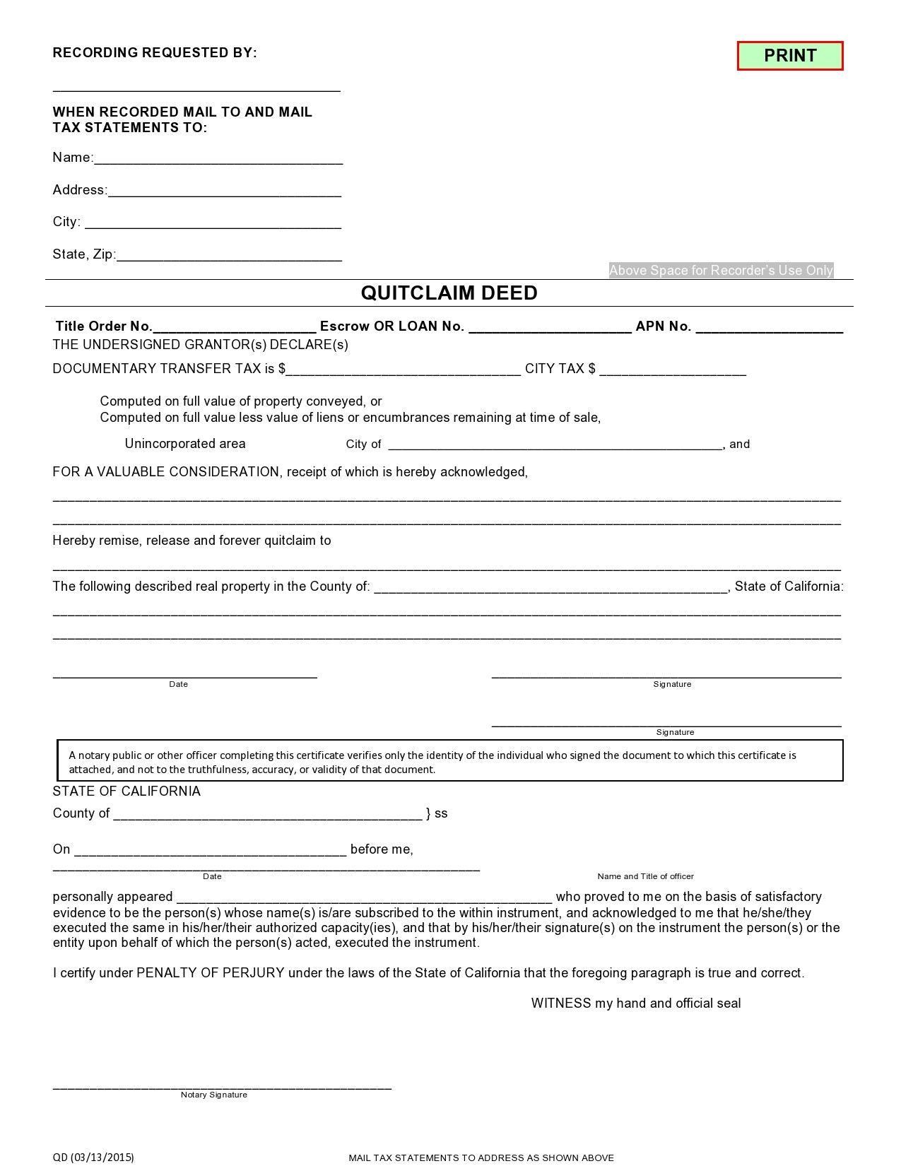 Free quit claim deed form 28
