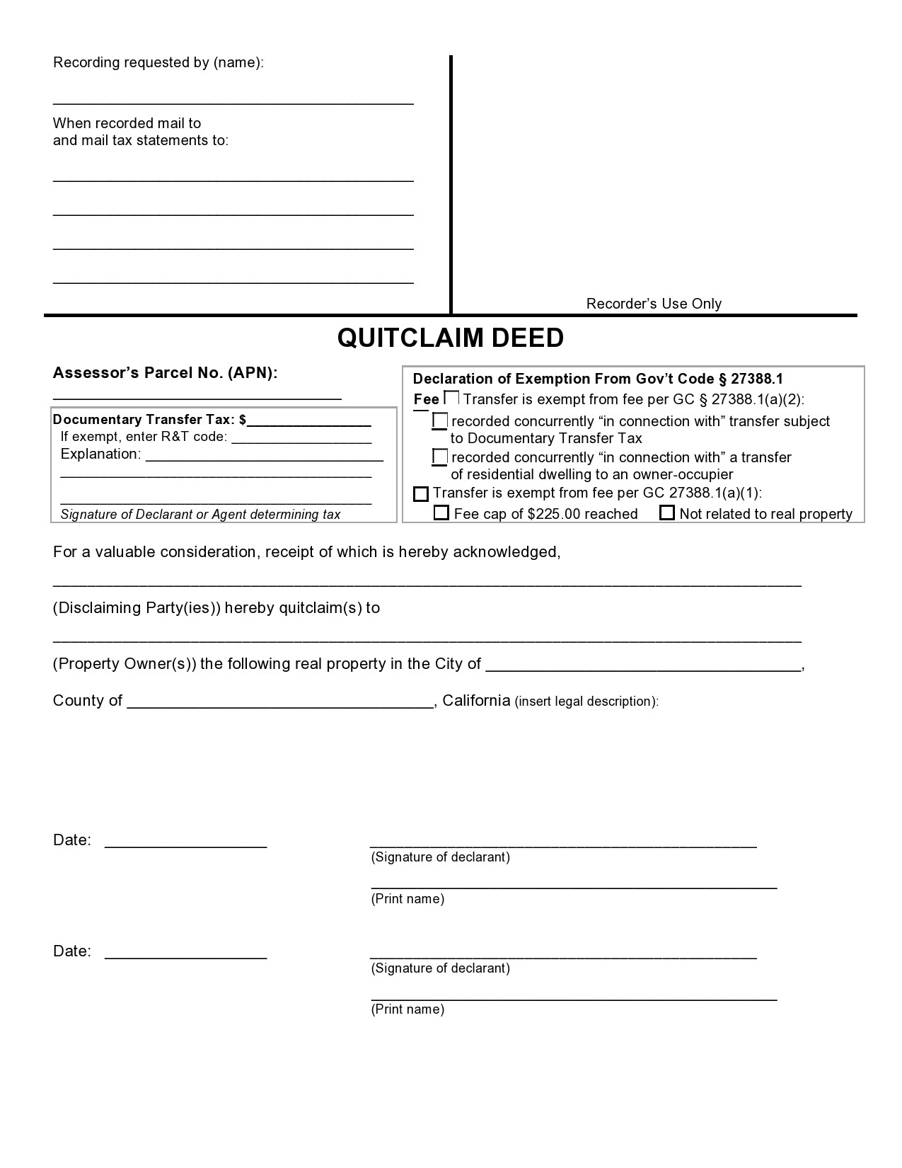Free quit claim deed form 29