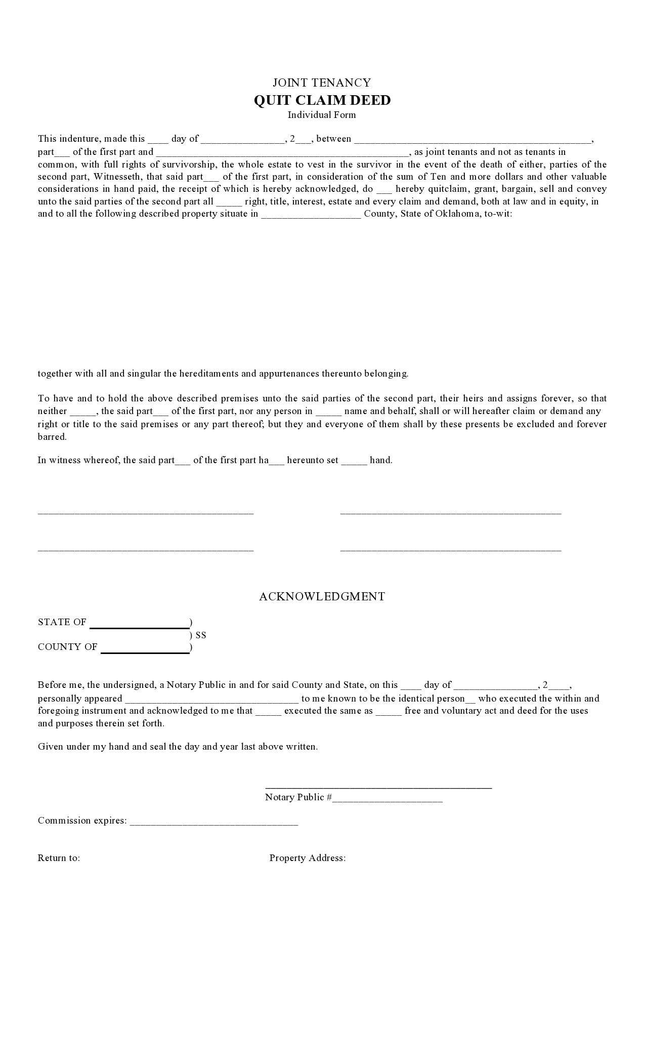 Free quit claim deed form 31
