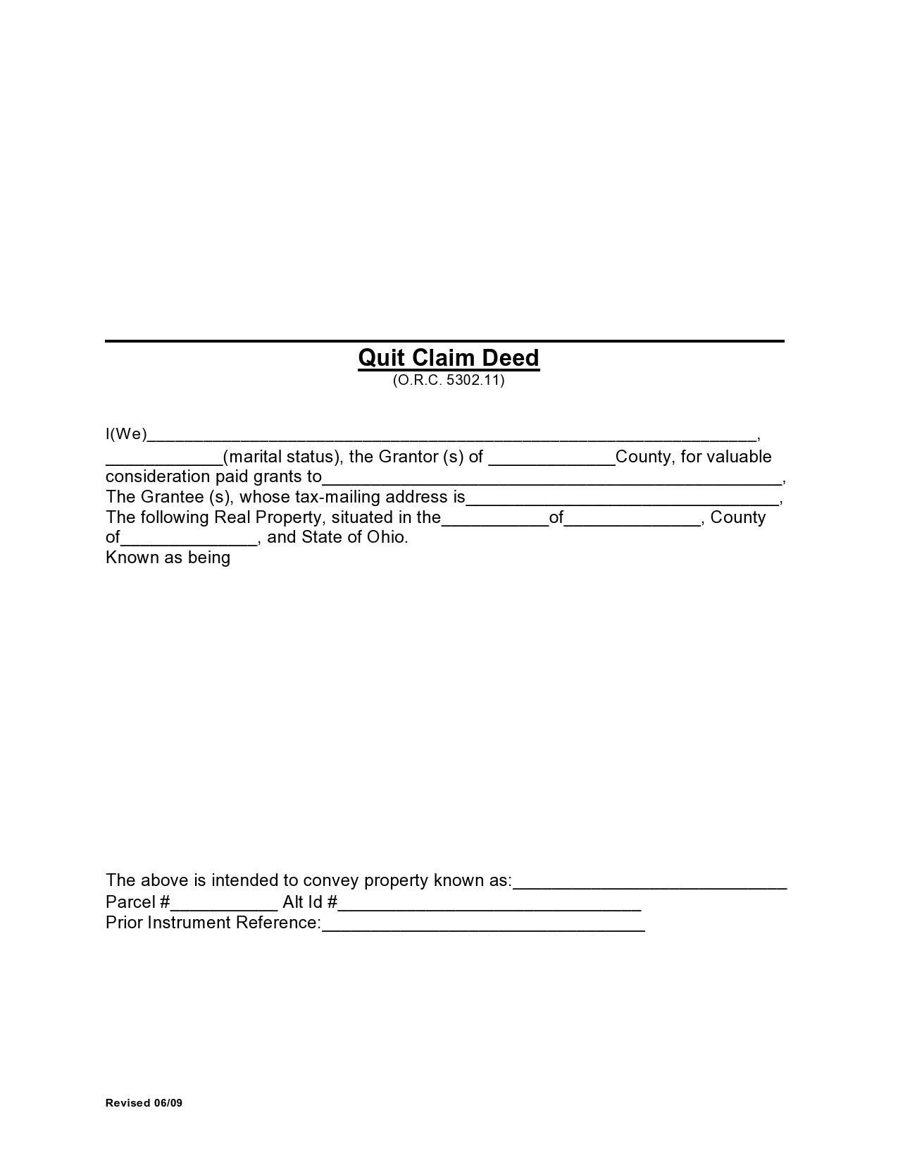 Free quit claim deed form 33
