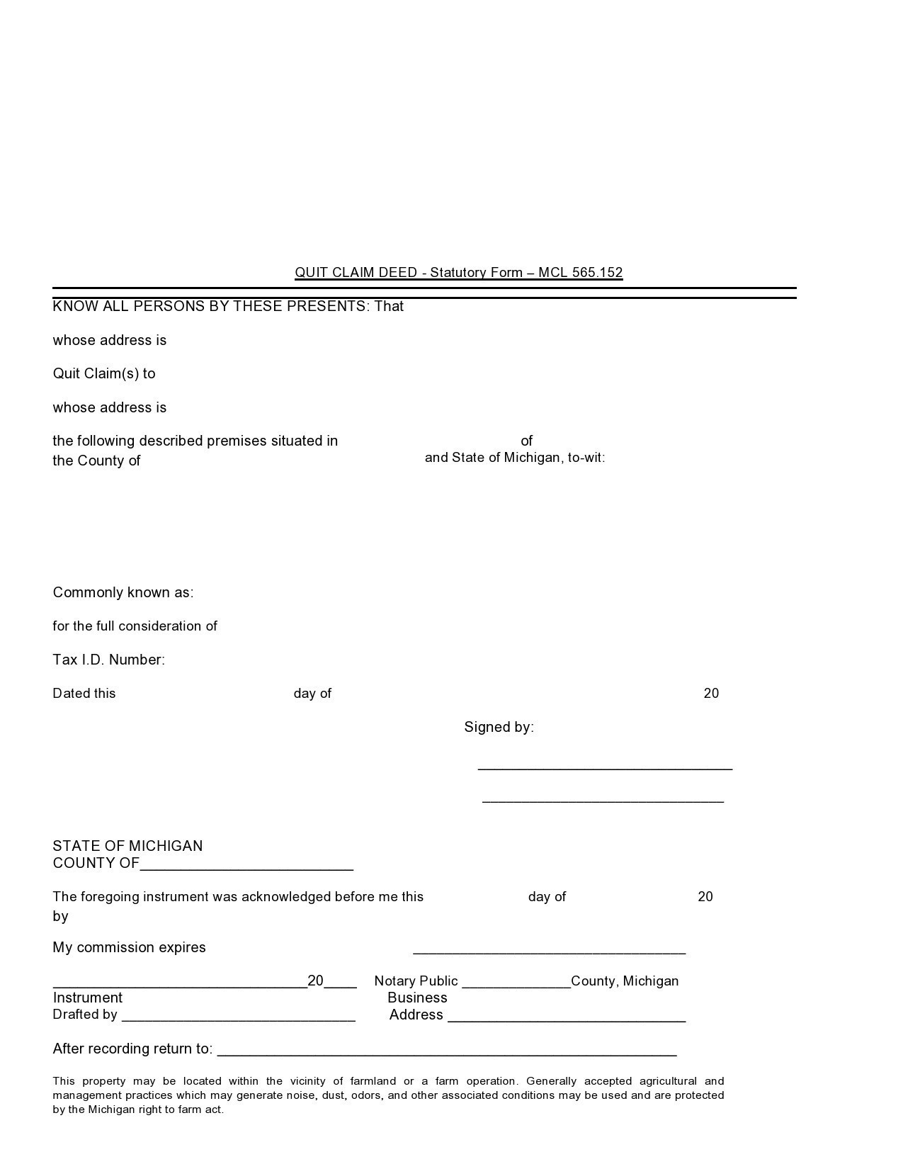Free quit claim deed form 36