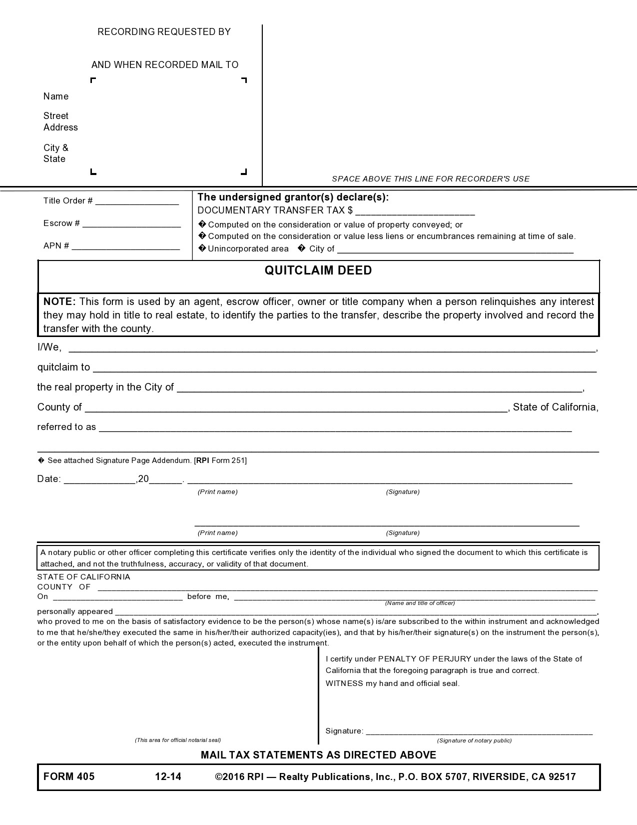 Free quit claim deed form 38