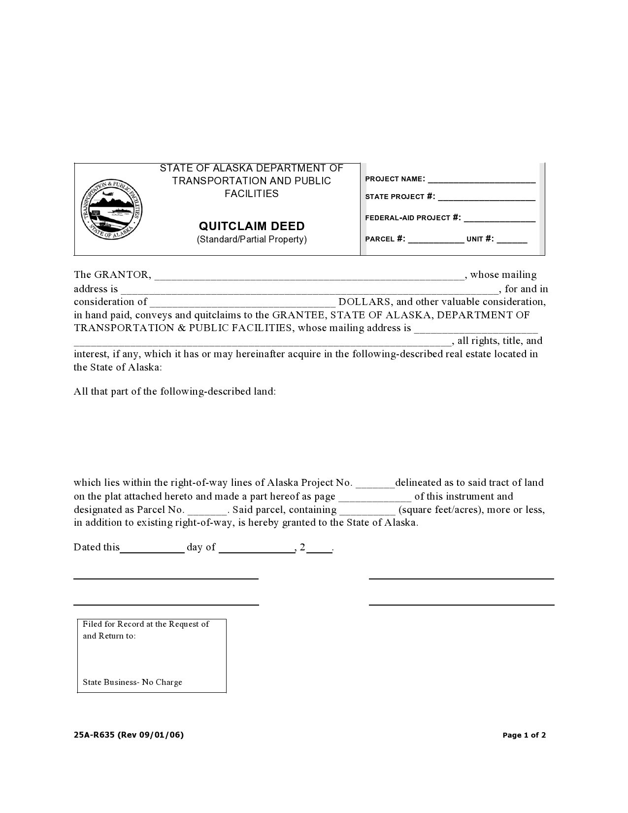 Free quit claim deed form 39