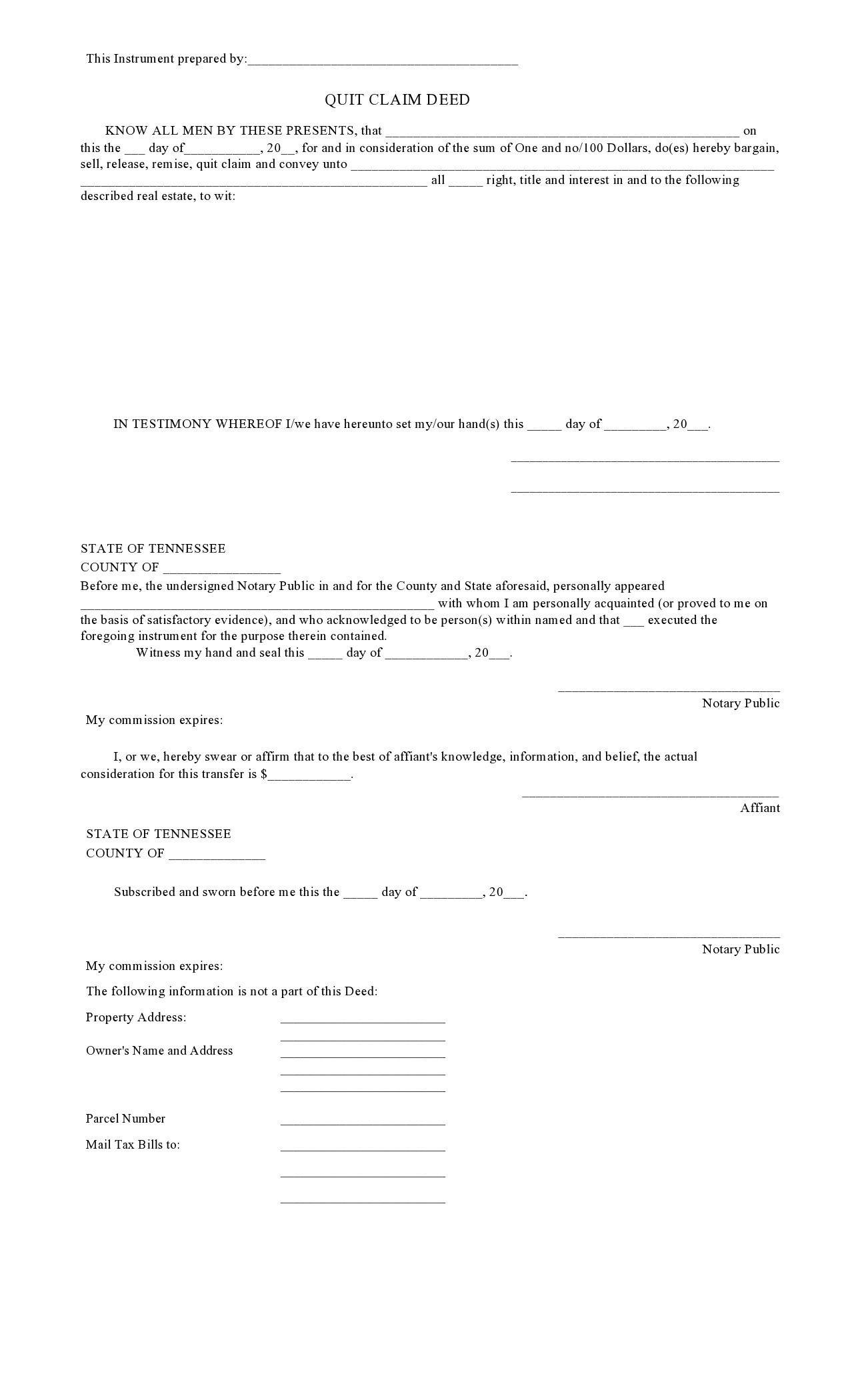 Free quit claim deed form 40