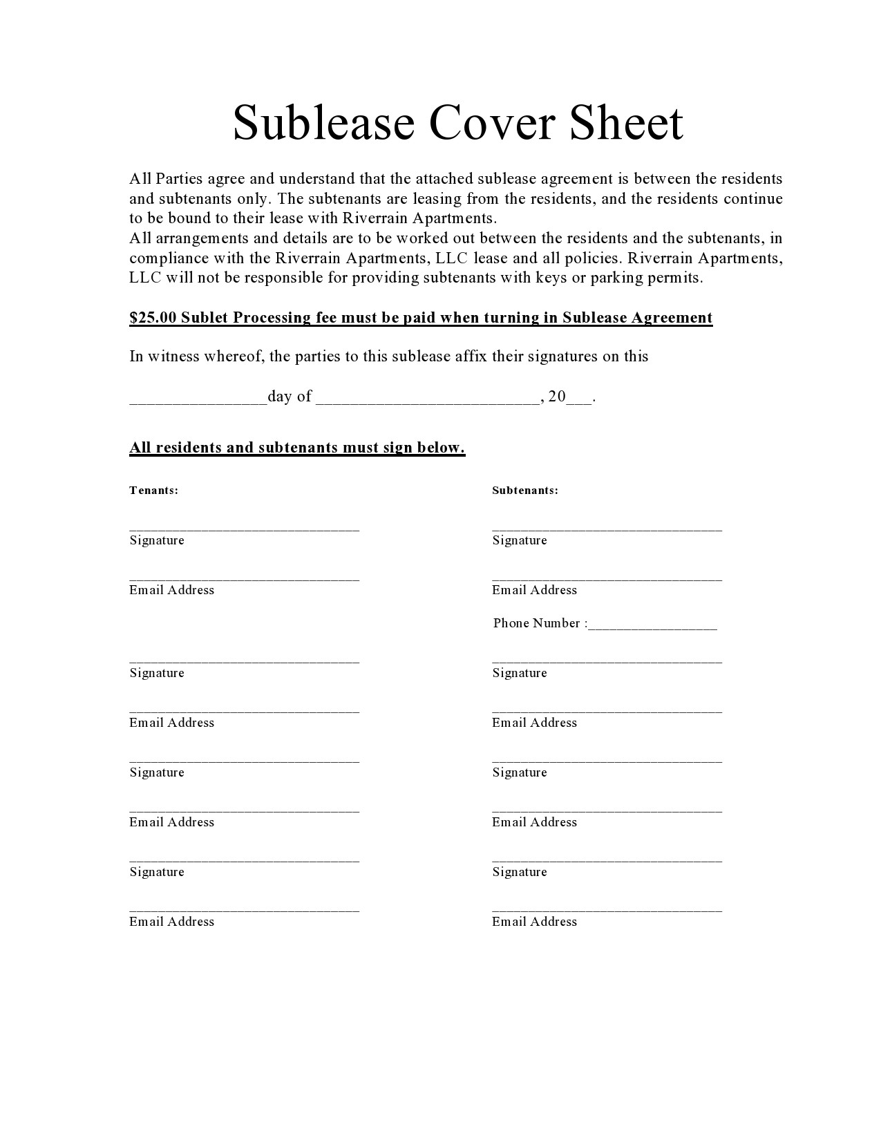 Free residential sublease agreement 01