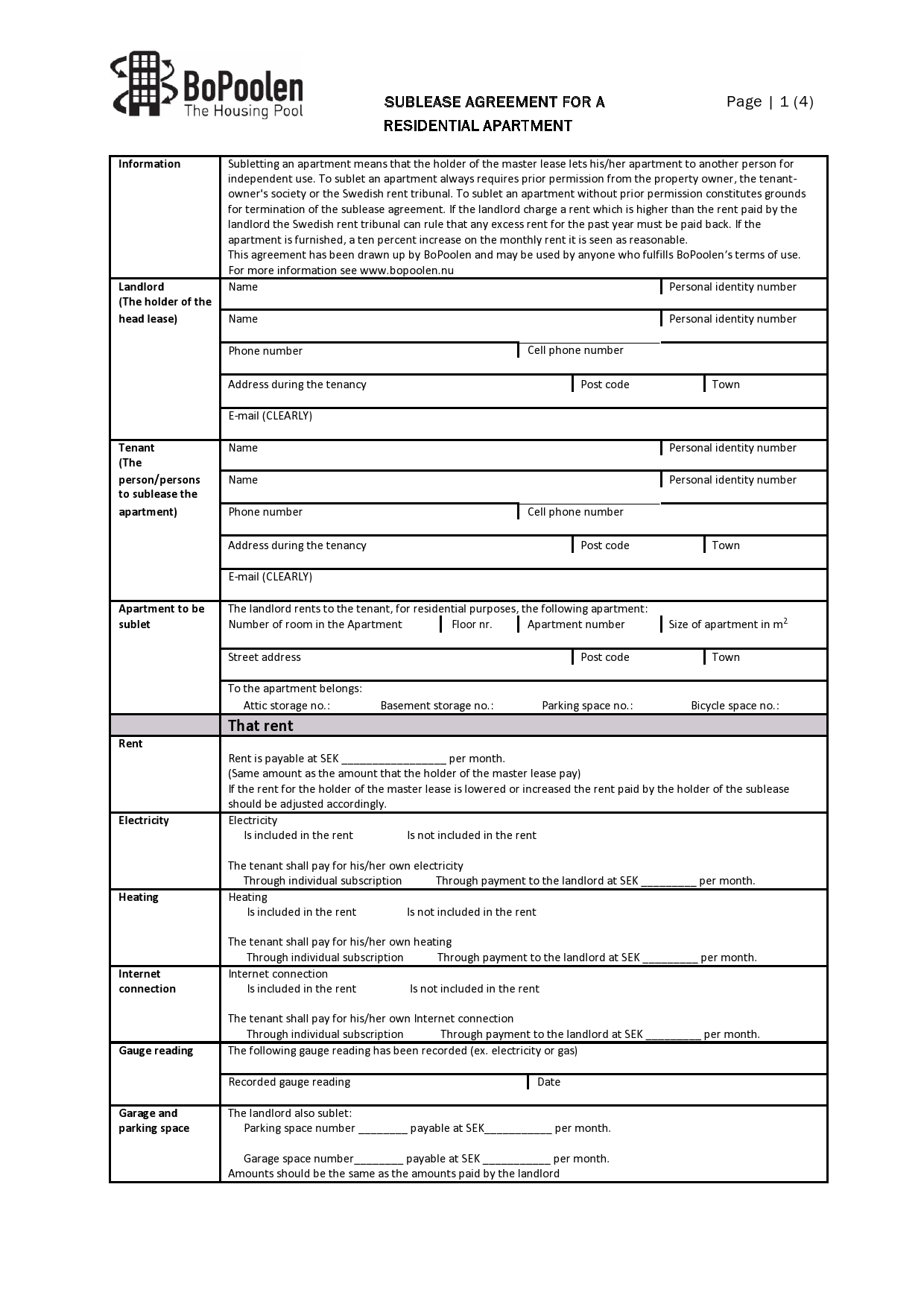 Free residential sublease agreement 04