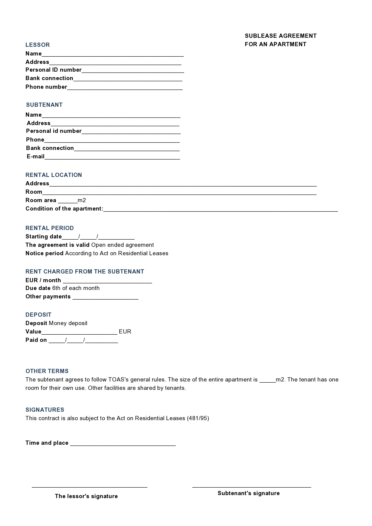 Free residential sublease agreement 09