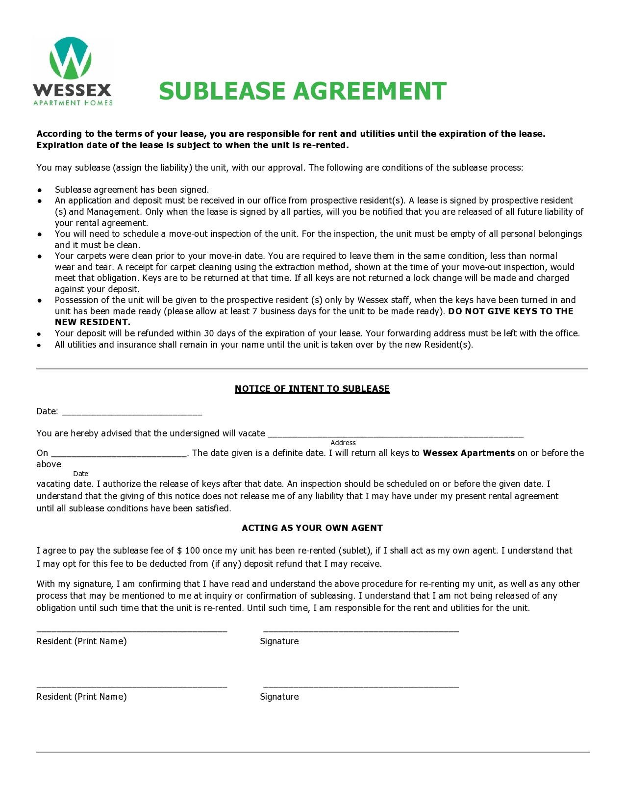 Free residential sublease agreement 13