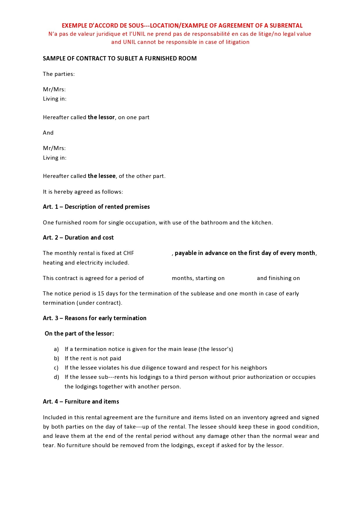 Free residential sublease agreement 14