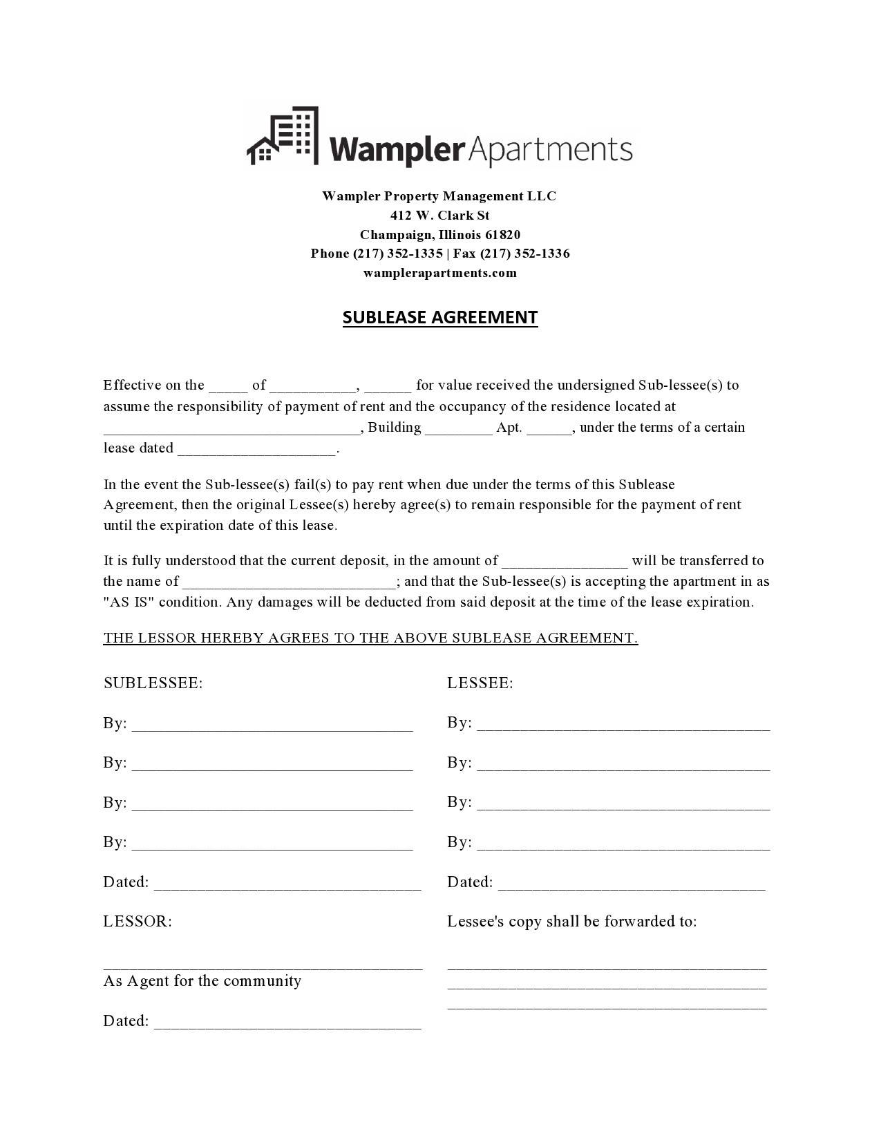 Free residential sublease agreement 18