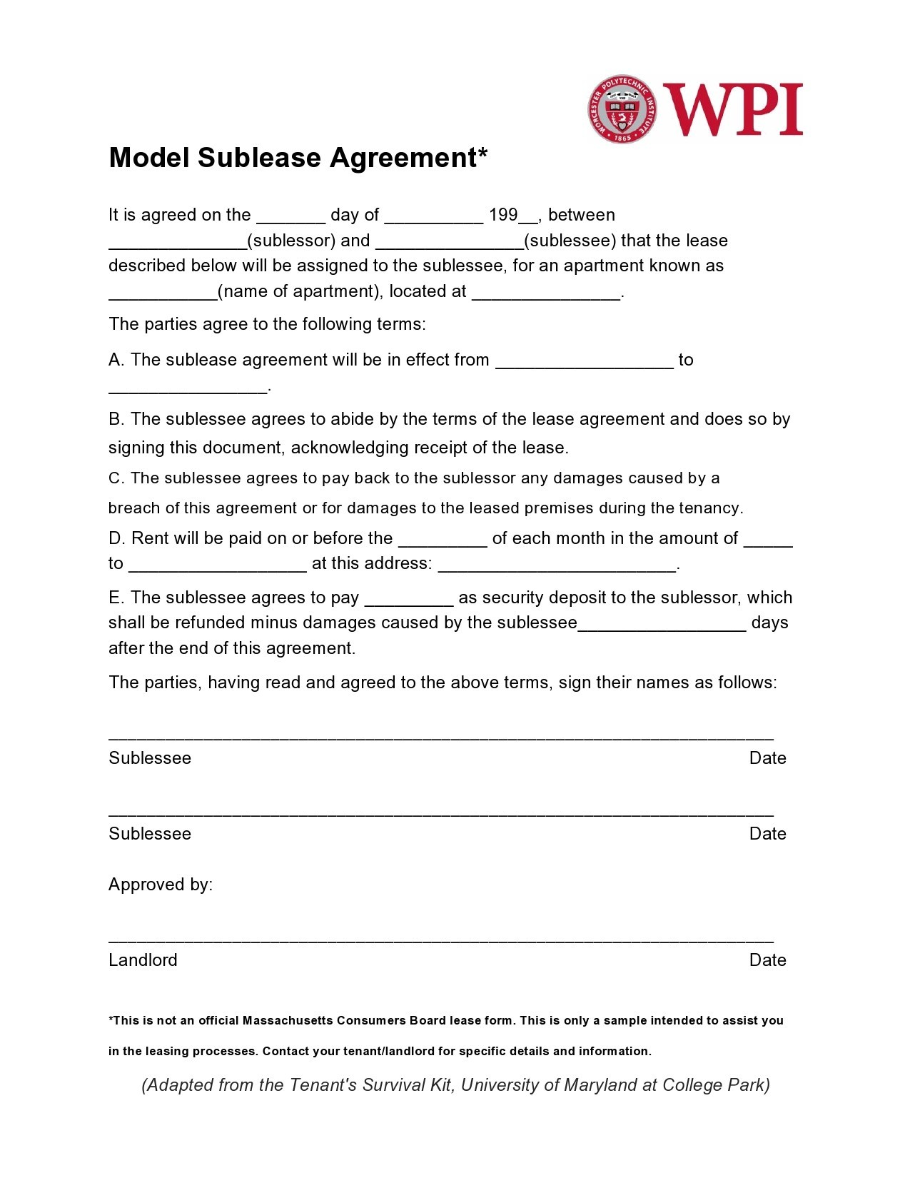Free residential sublease agreement 20