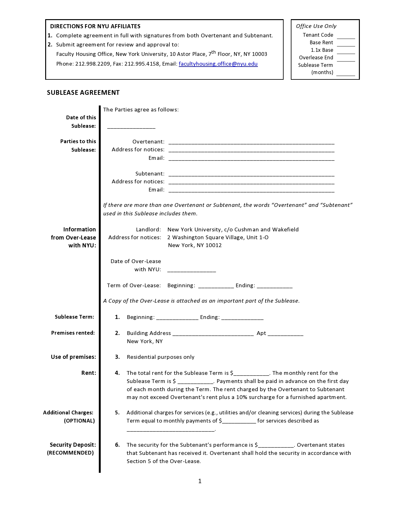 Free residential sublease agreement 25