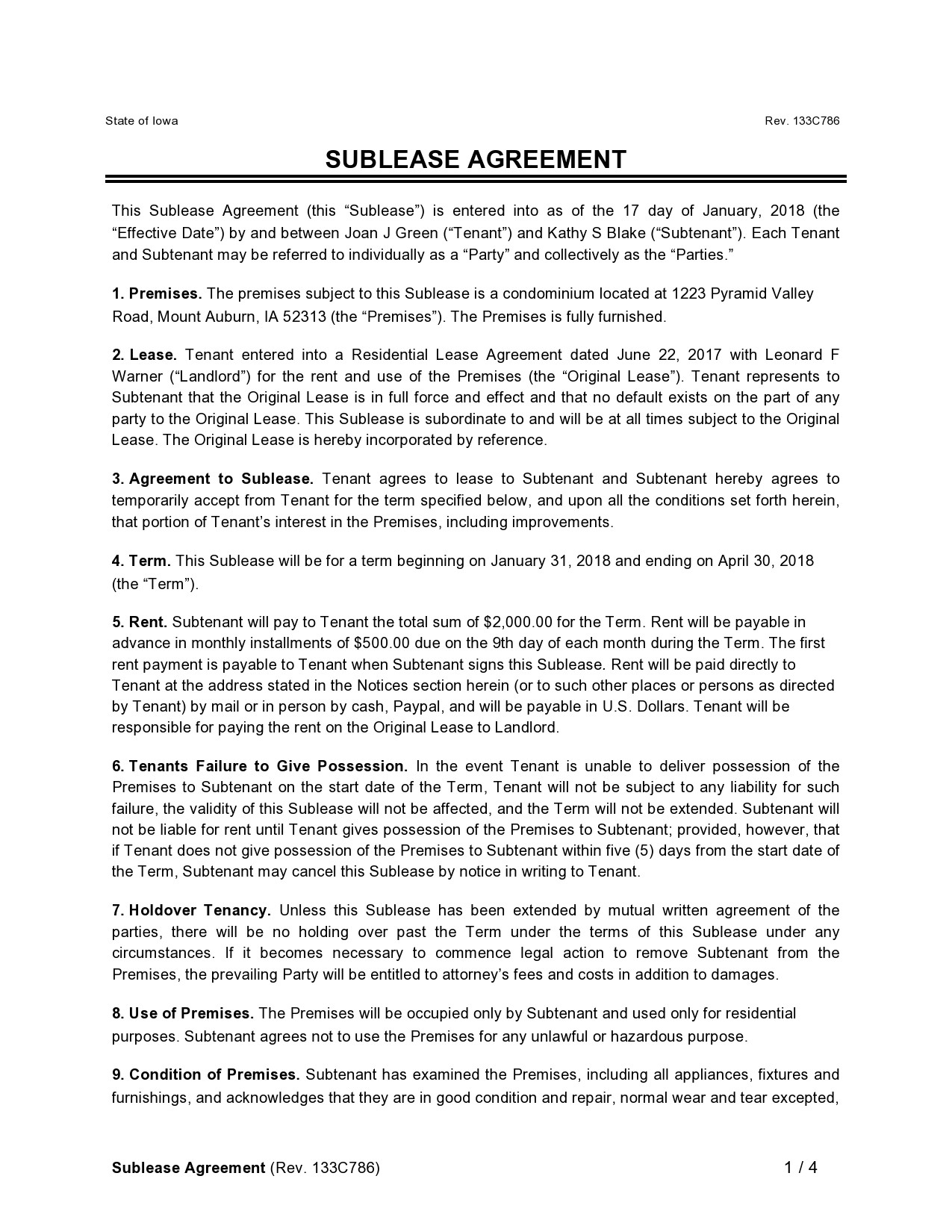 Free residential sublease agreement 34