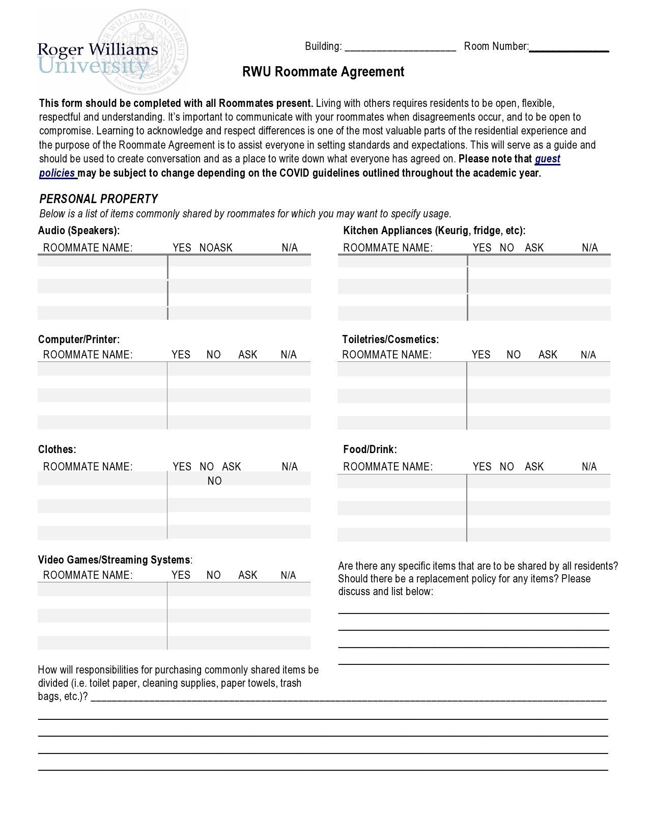 Free roommate agreement template 03