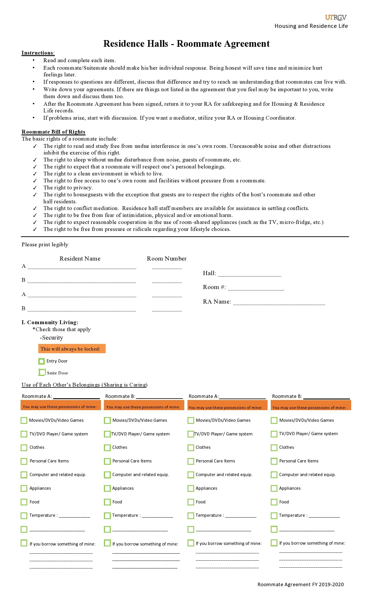 Free roommate agreement template 08