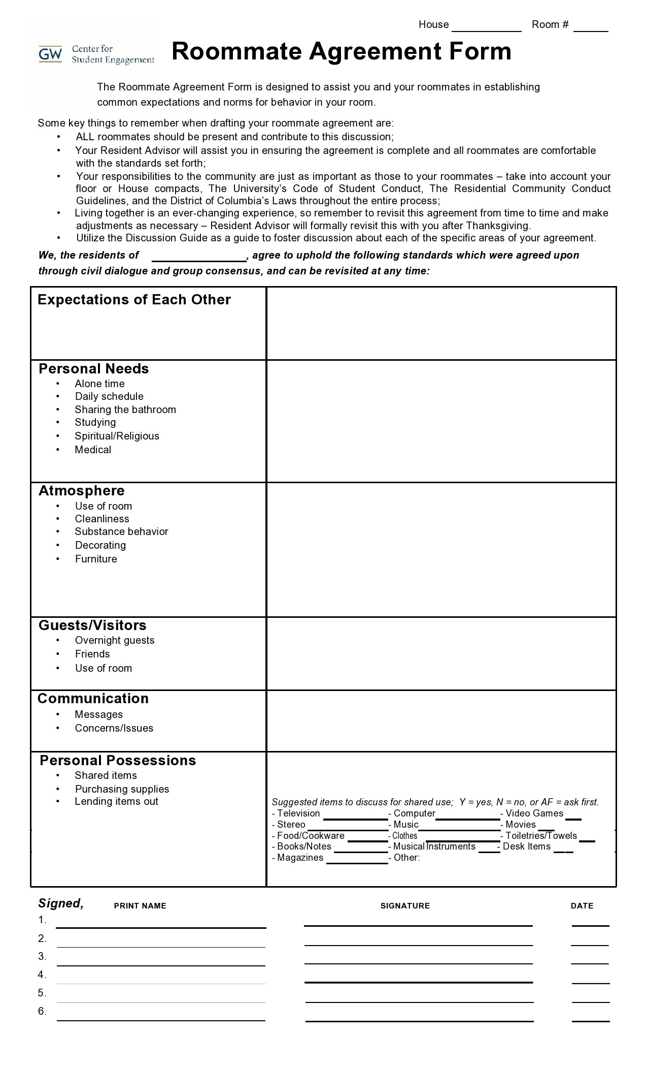 Free roommate agreement template 11