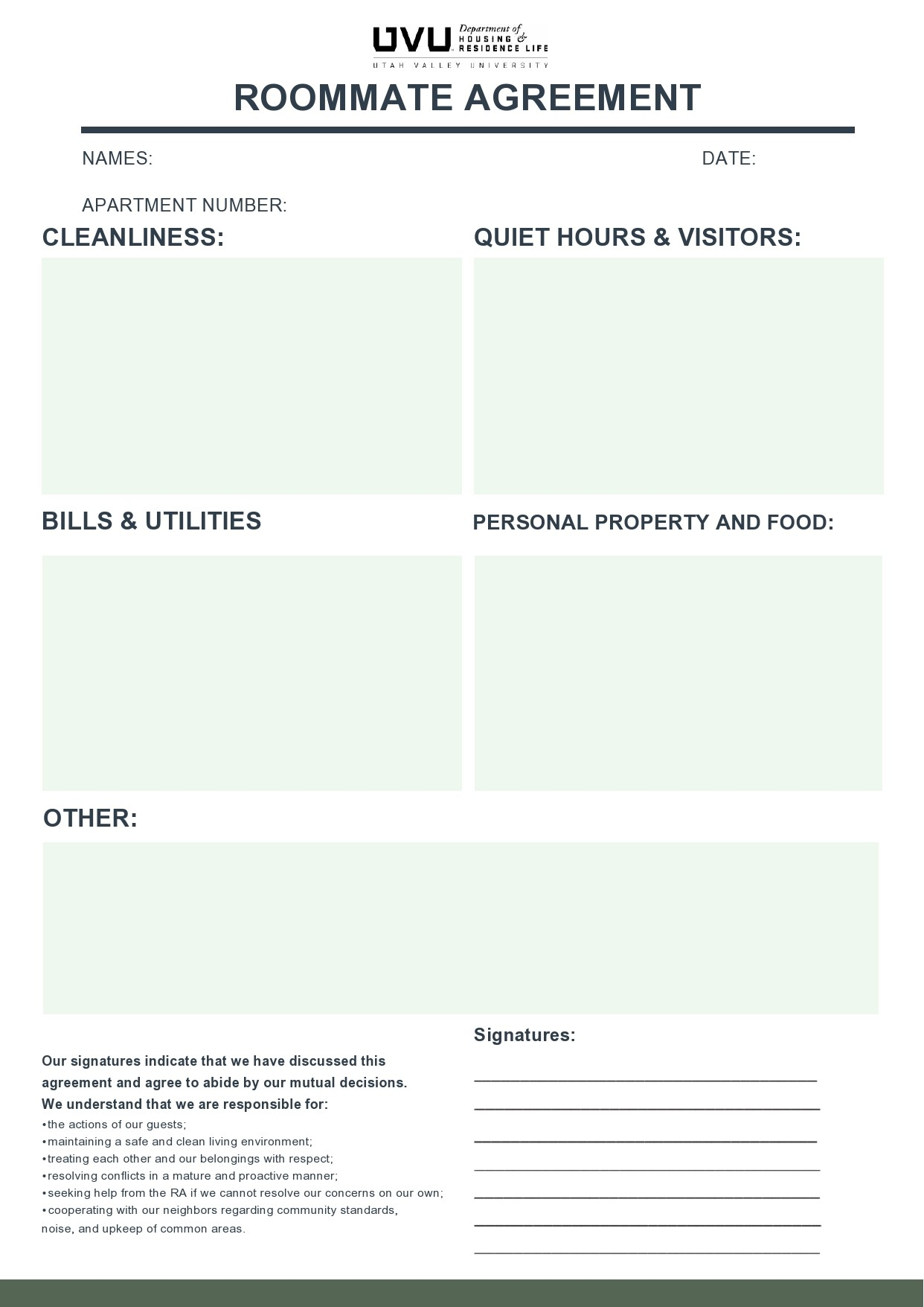 Free roommate agreement template 17