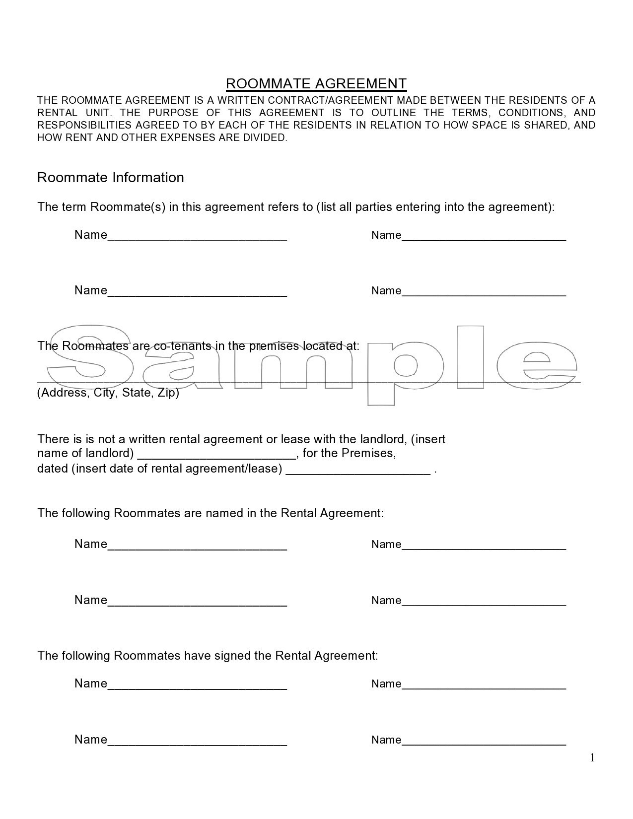 Free roommate agreement template 18