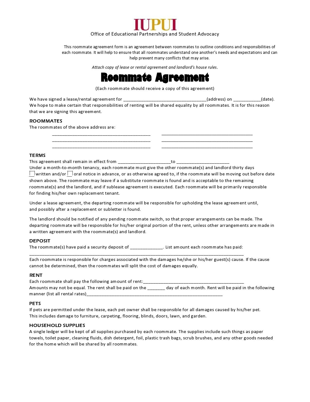 Free roommate agreement template 20
