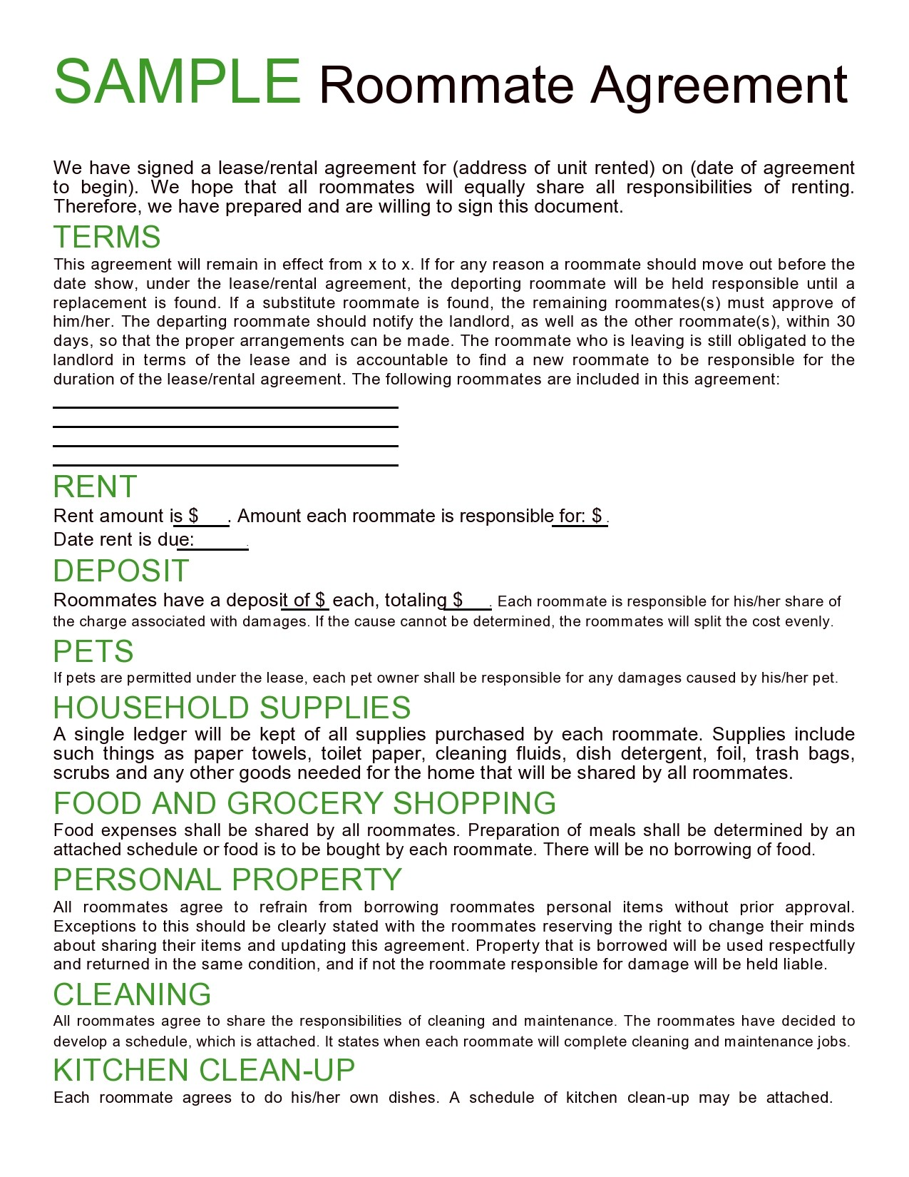 Free roommate agreement template 22