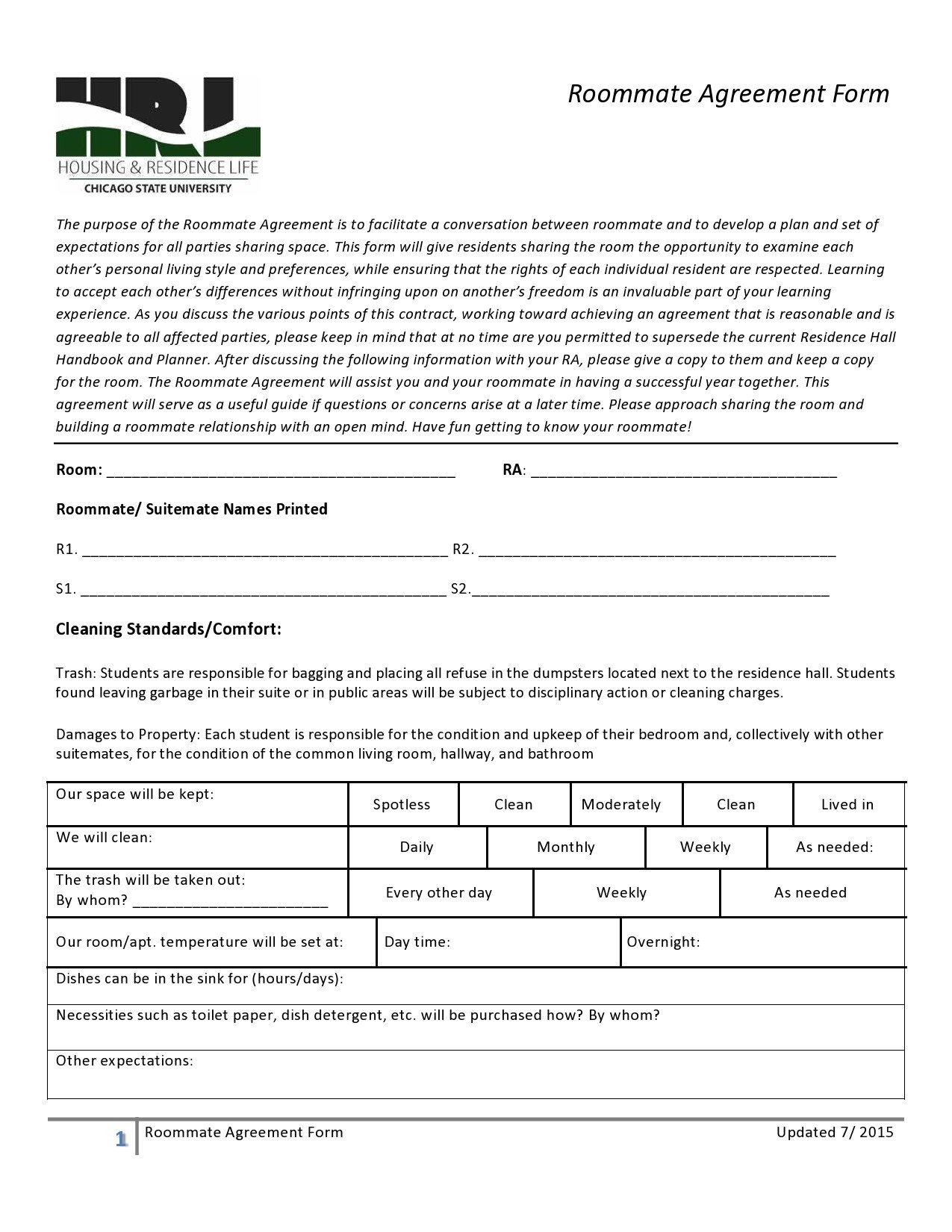 Free roommate agreement template 31