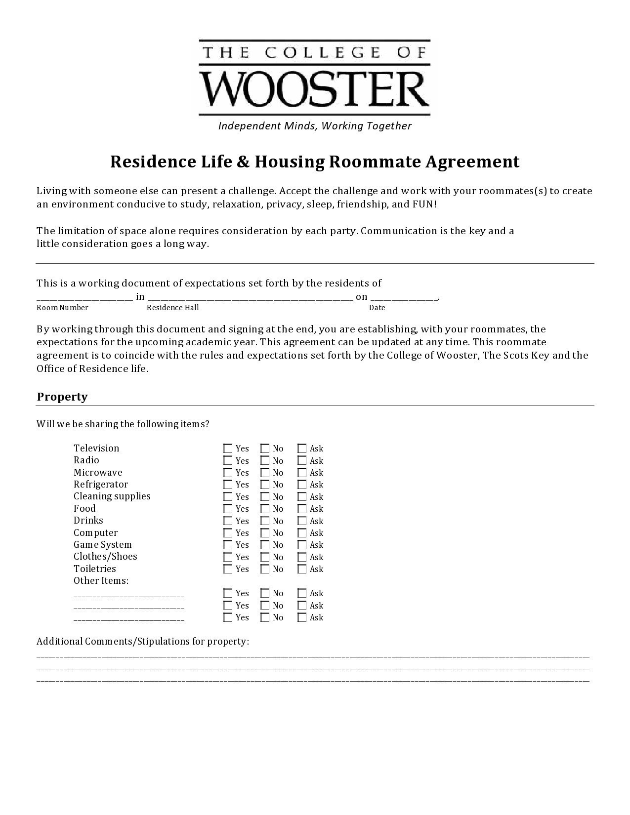 Free roommate agreement template 39
