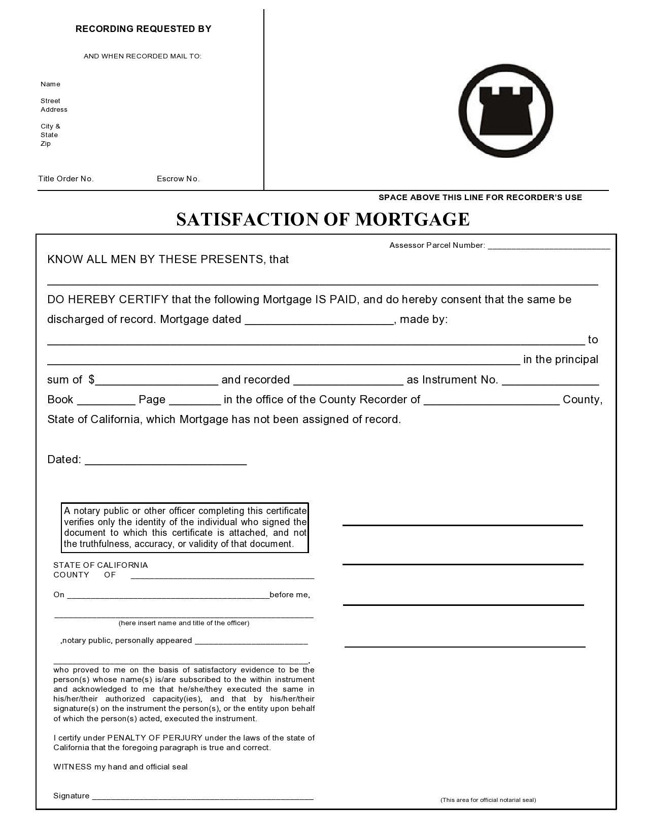 Free satisfaction of mortgage 06