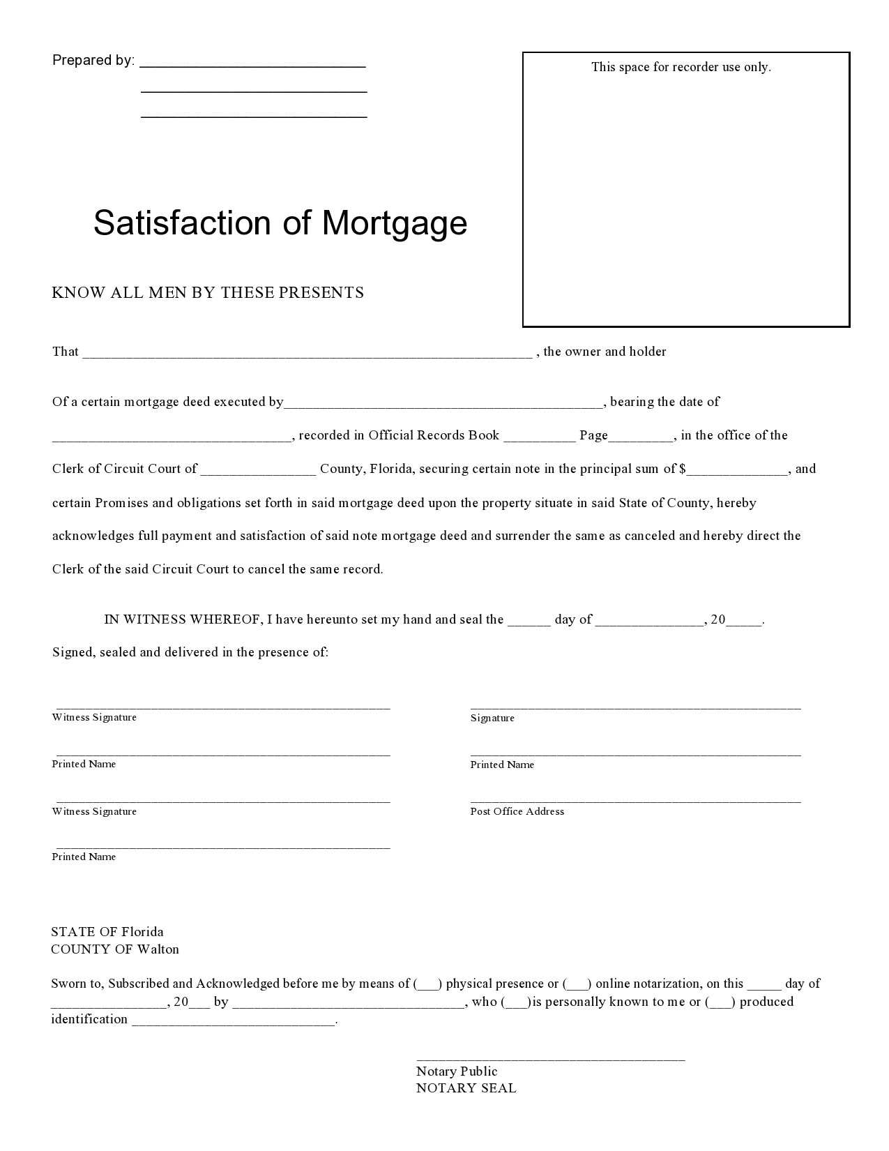 Free satisfaction of mortgage 09