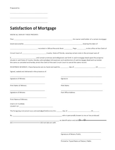 Satisfactions Of Mortgage