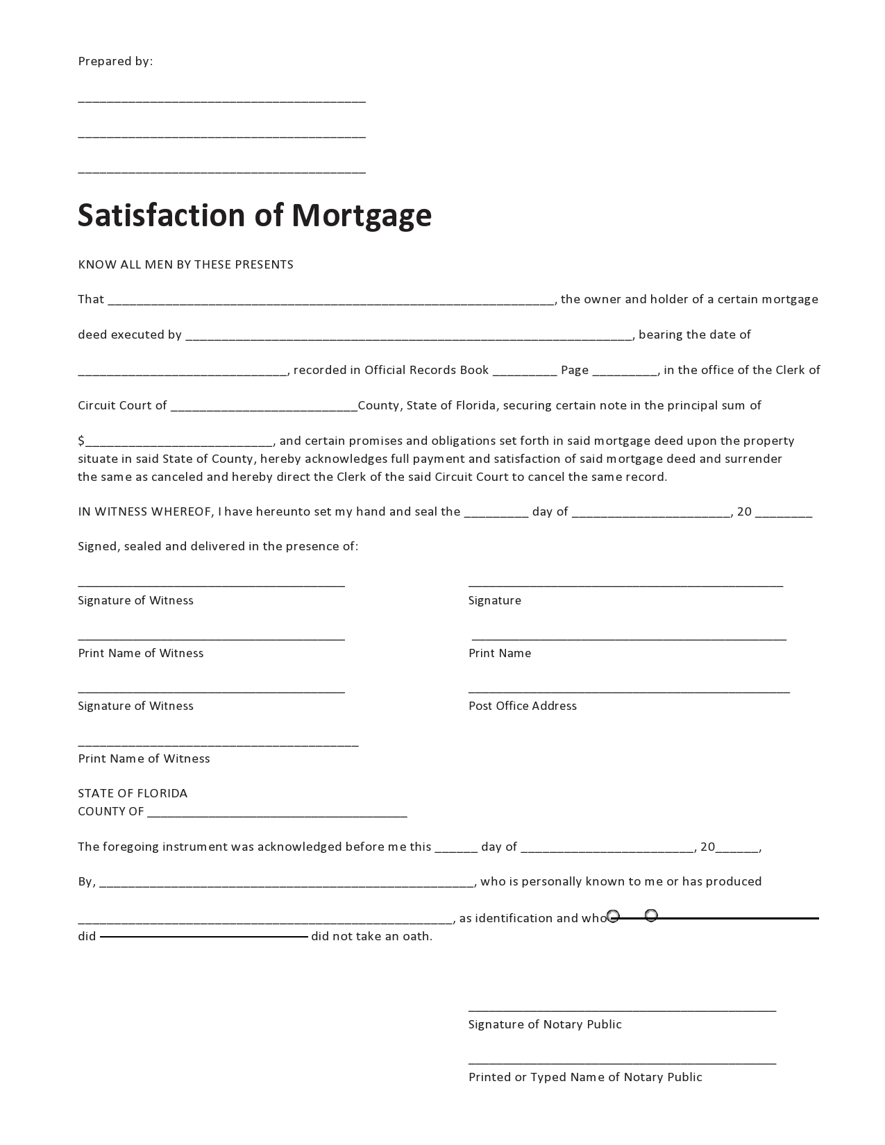 Free satisfaction of mortgage 19