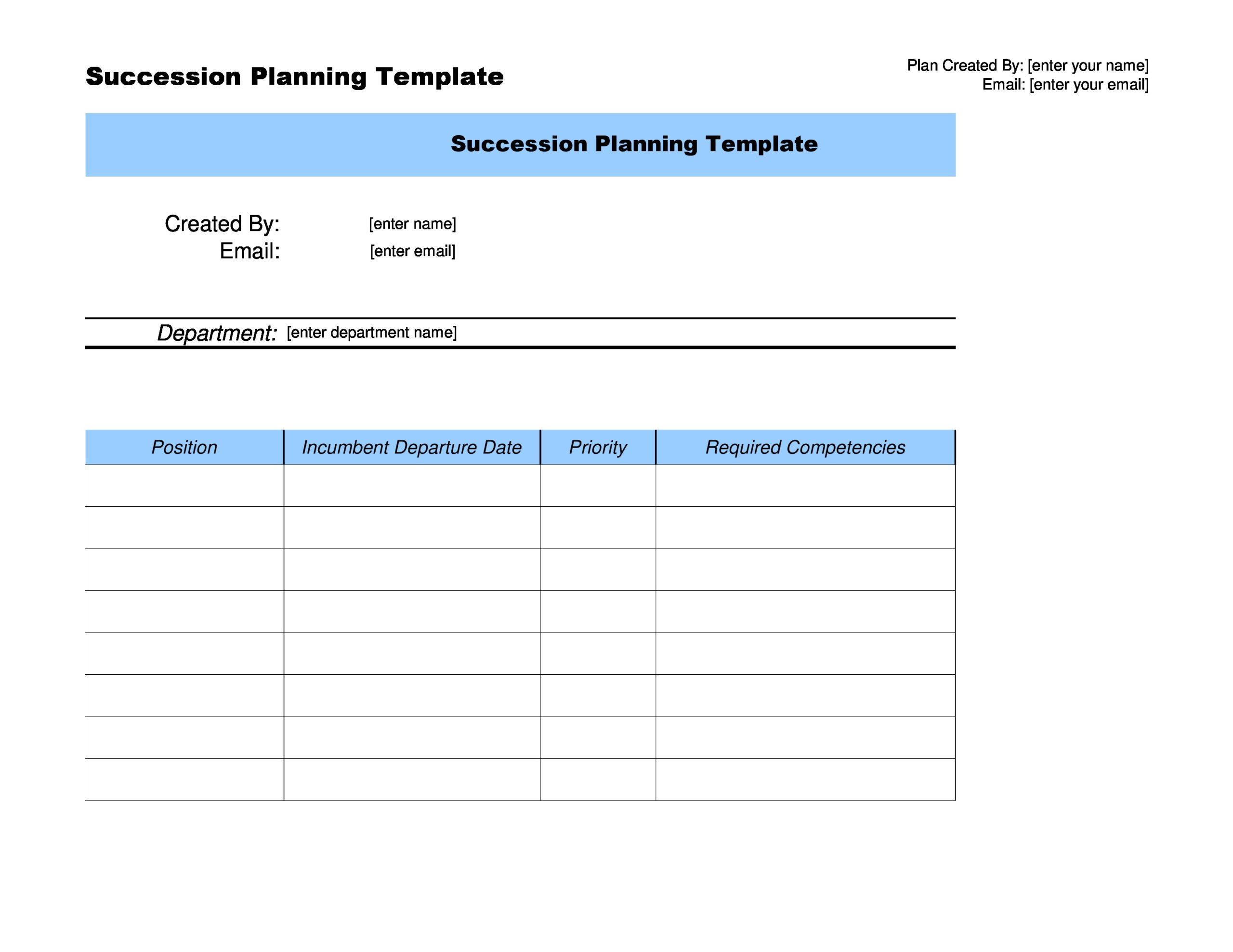 Free succession planning template 14