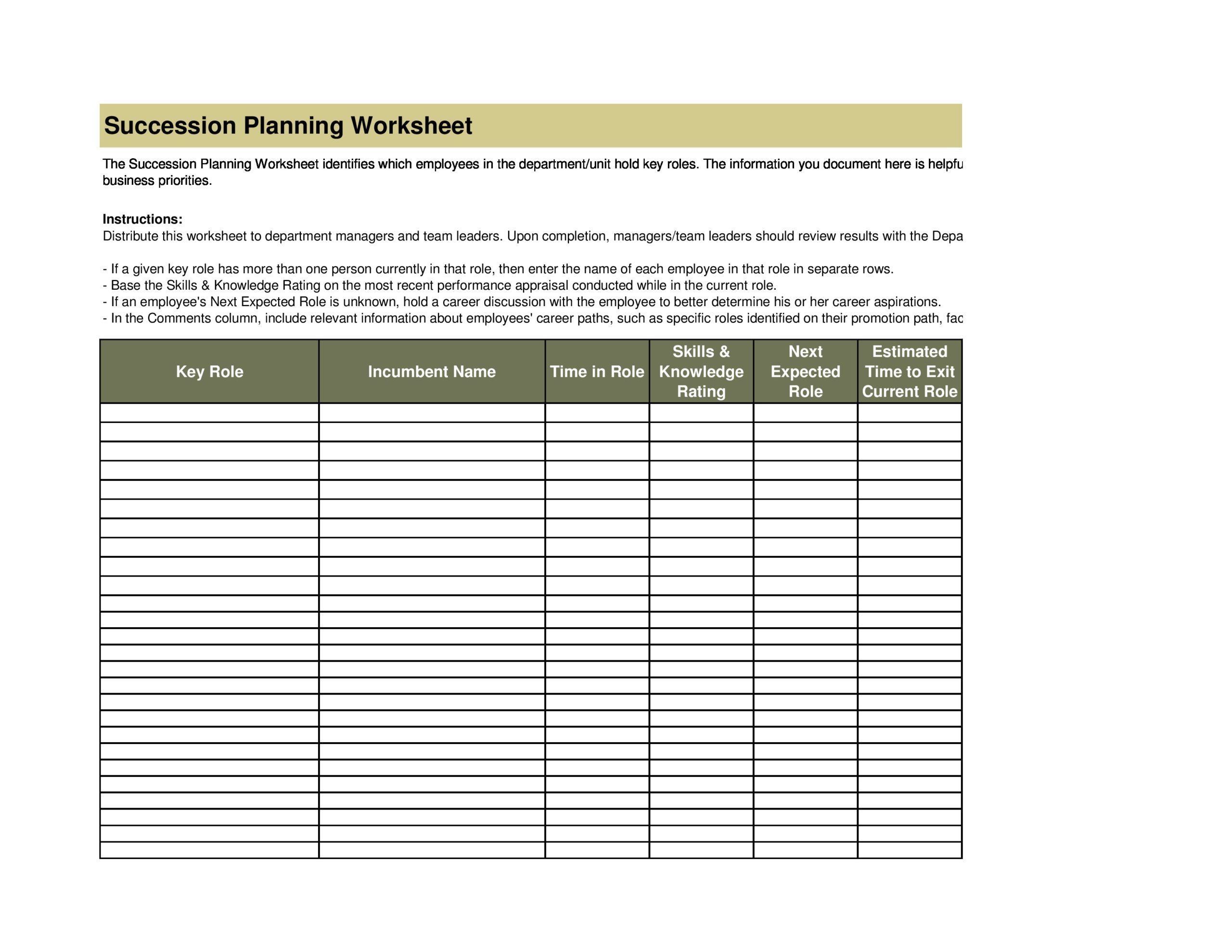 Free succession planning template 25