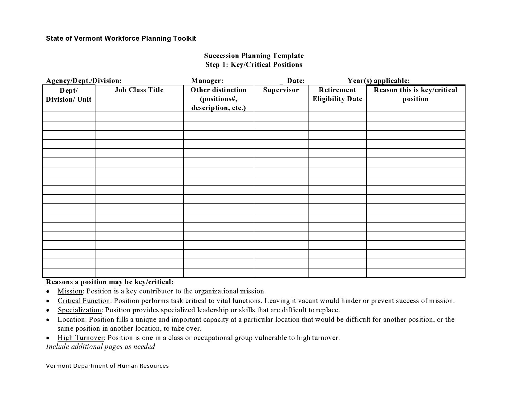 Free succession planning template 27