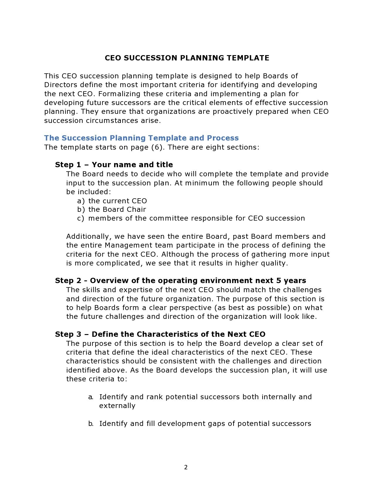 Free succession planning template 34