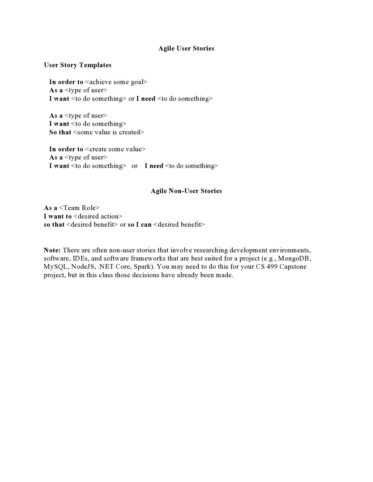 Free user story template 12