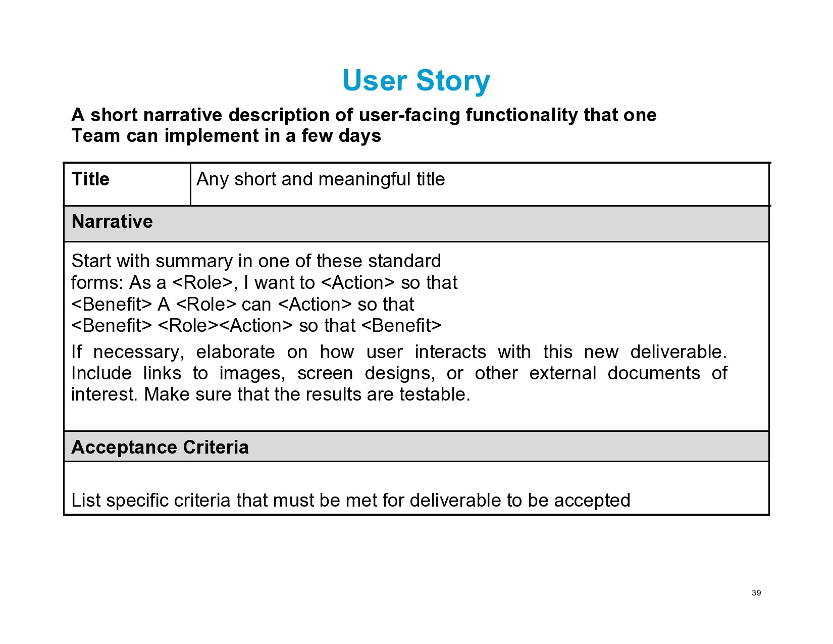 Free user story template 17
