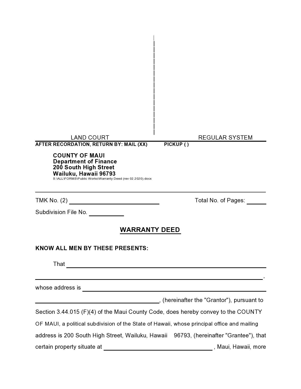Free warranty deed form 05