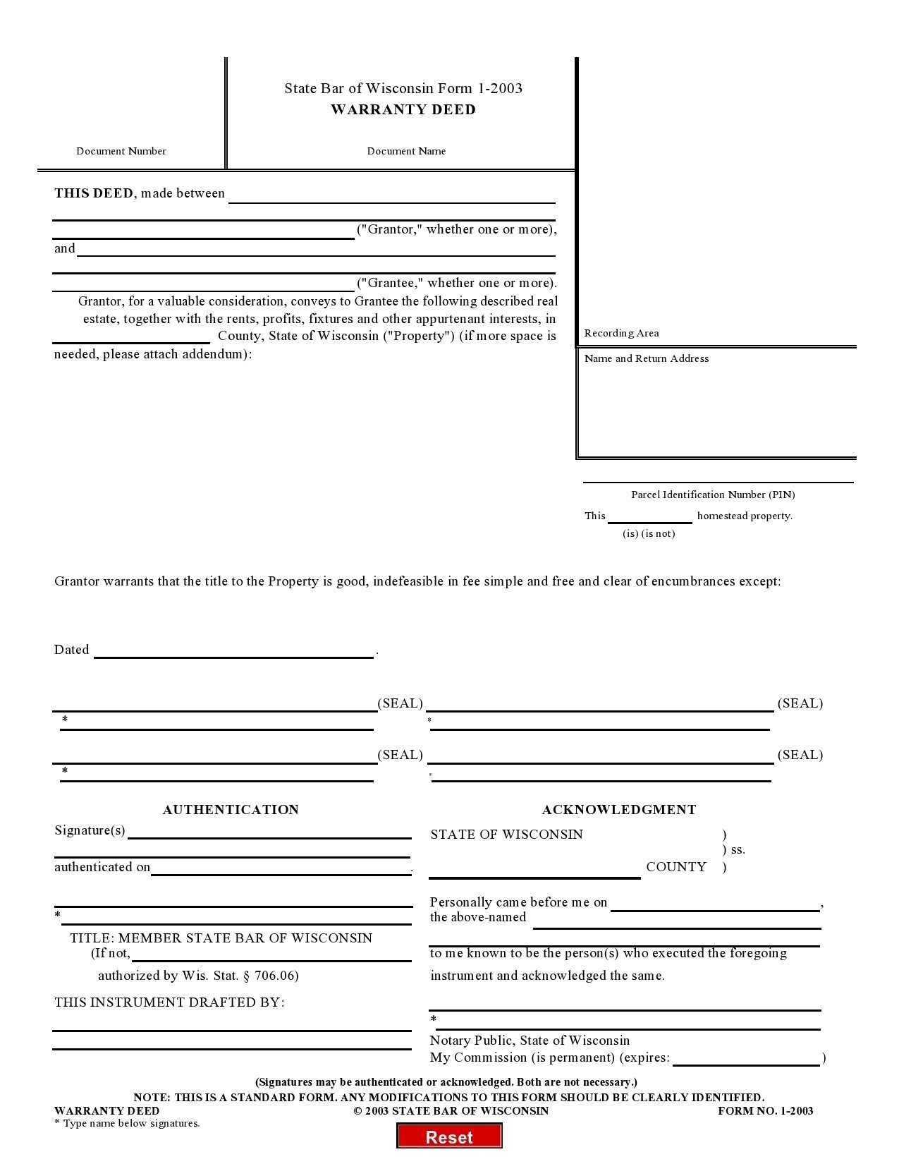 Free warranty deed form 06