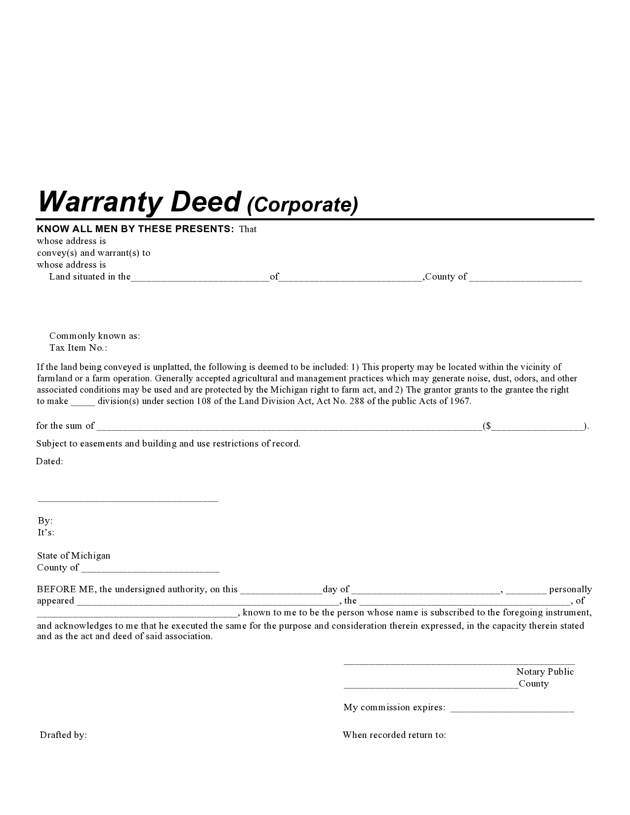 Free warranty deed form 07