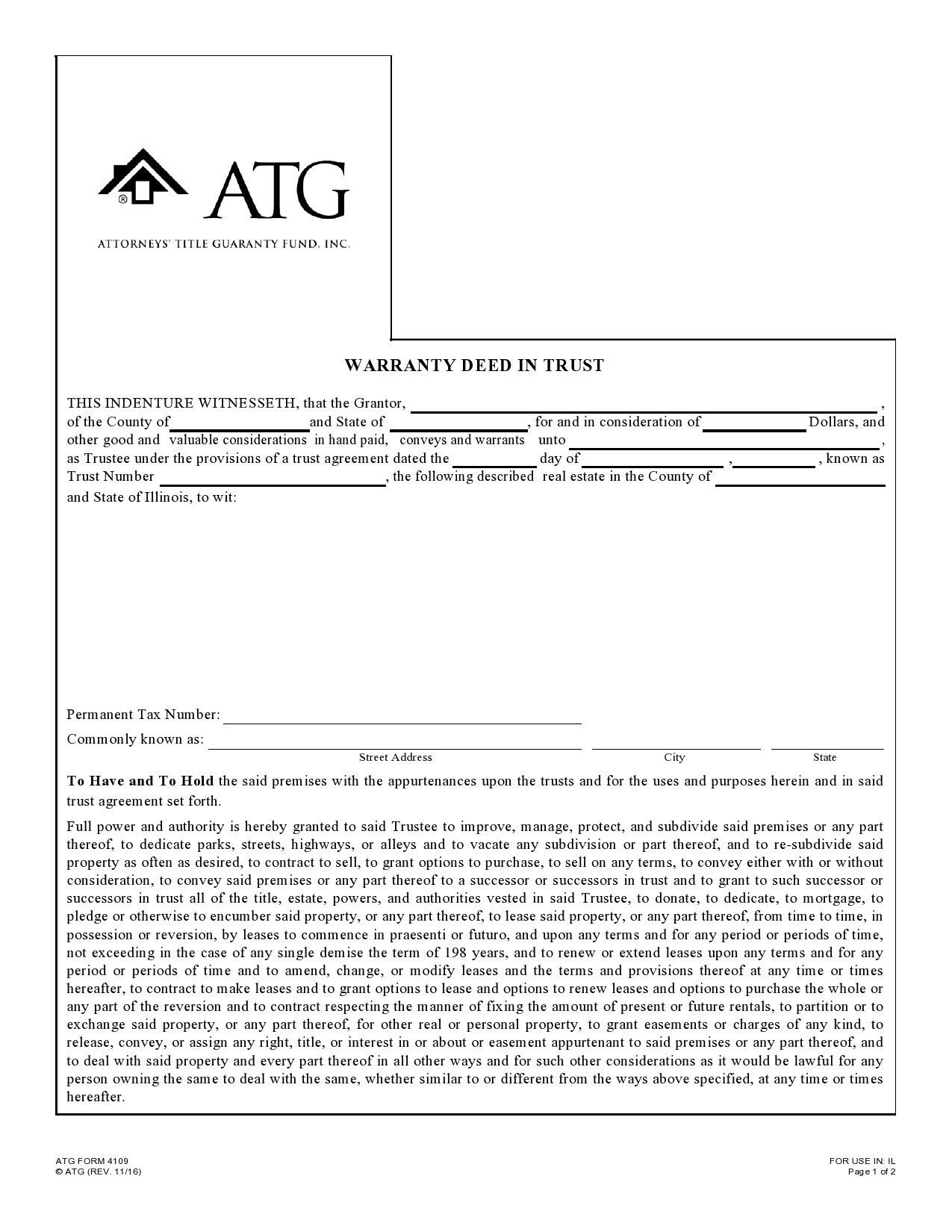 Free warranty deed form 08