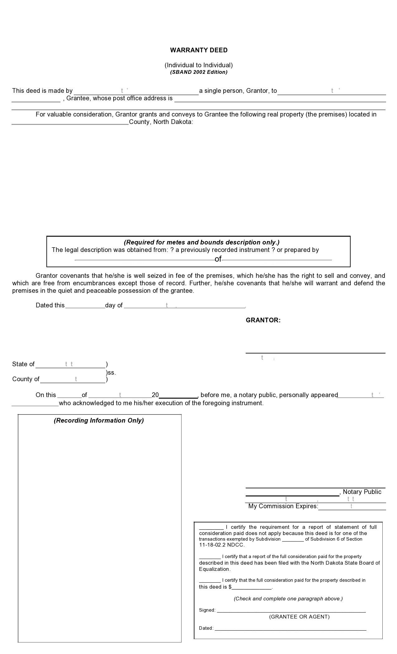 Free warranty deed form 09