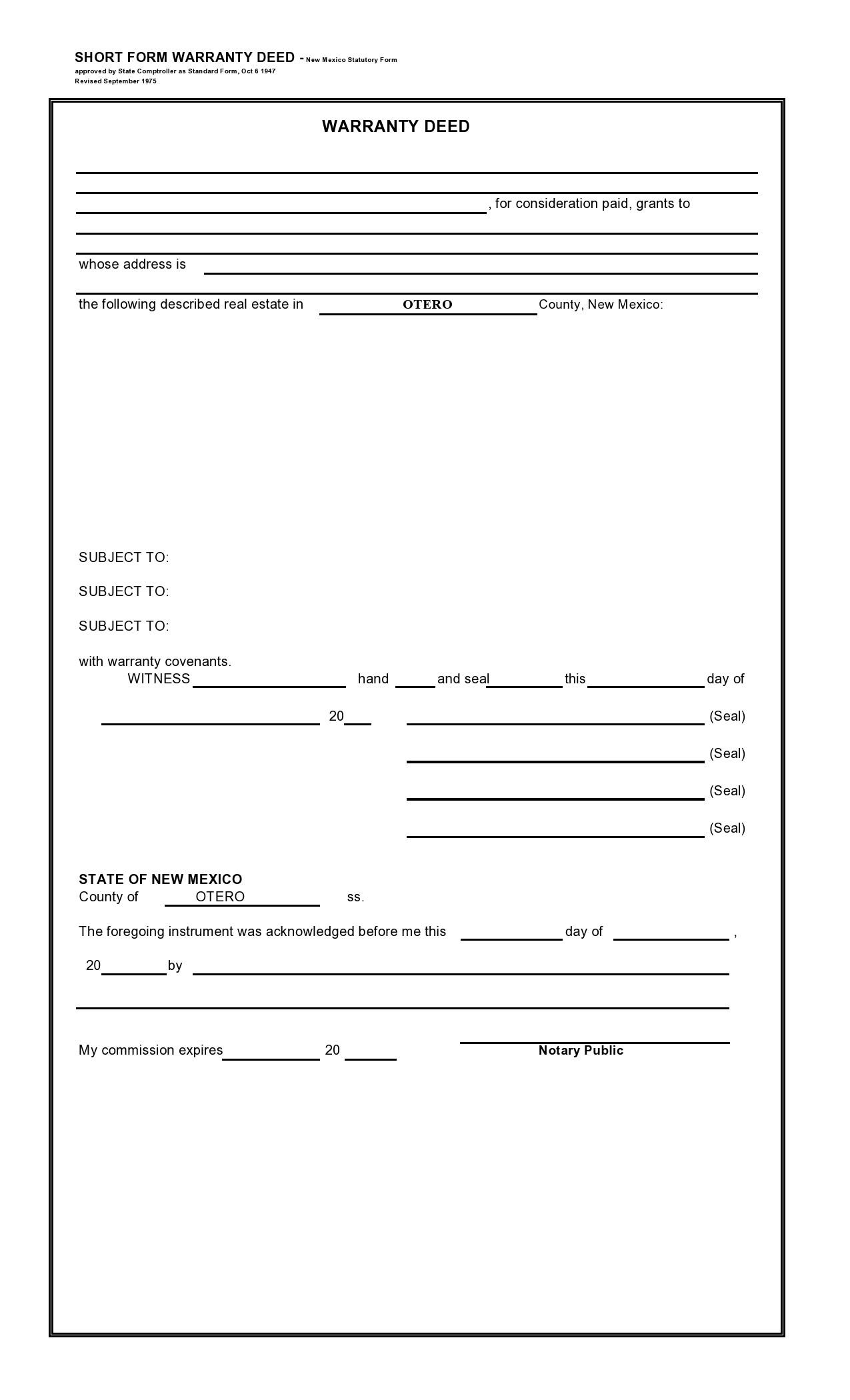 Free warranty deed form 13