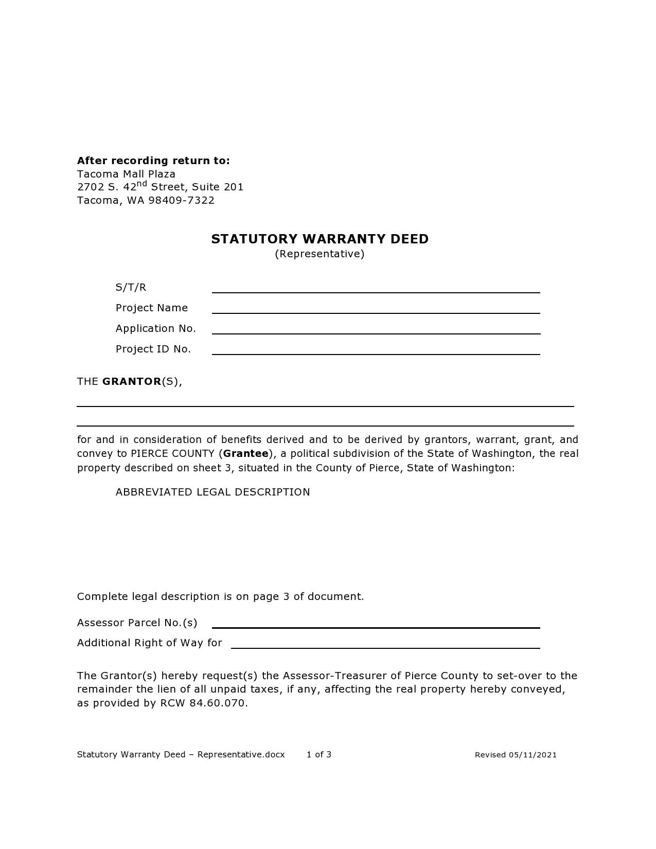 Free warranty deed form 15