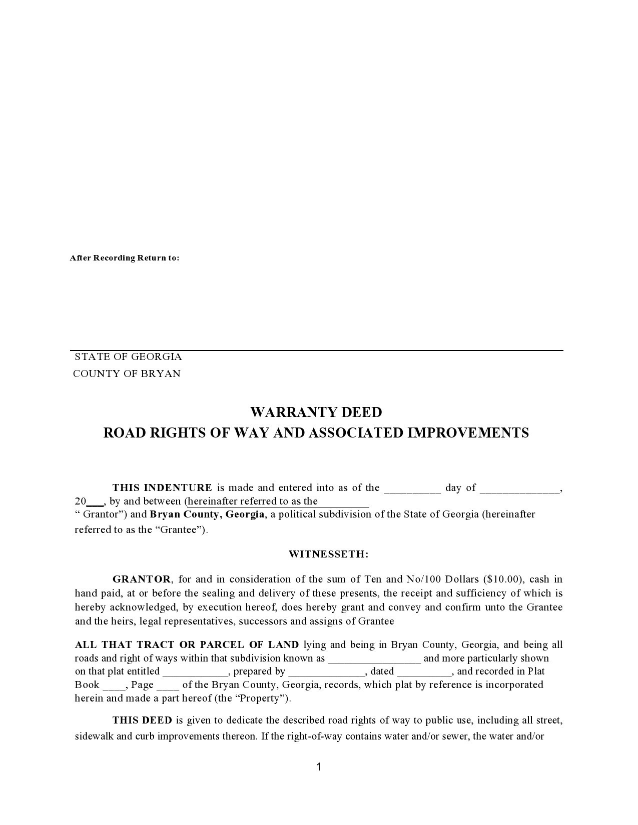 Free warranty deed form 24