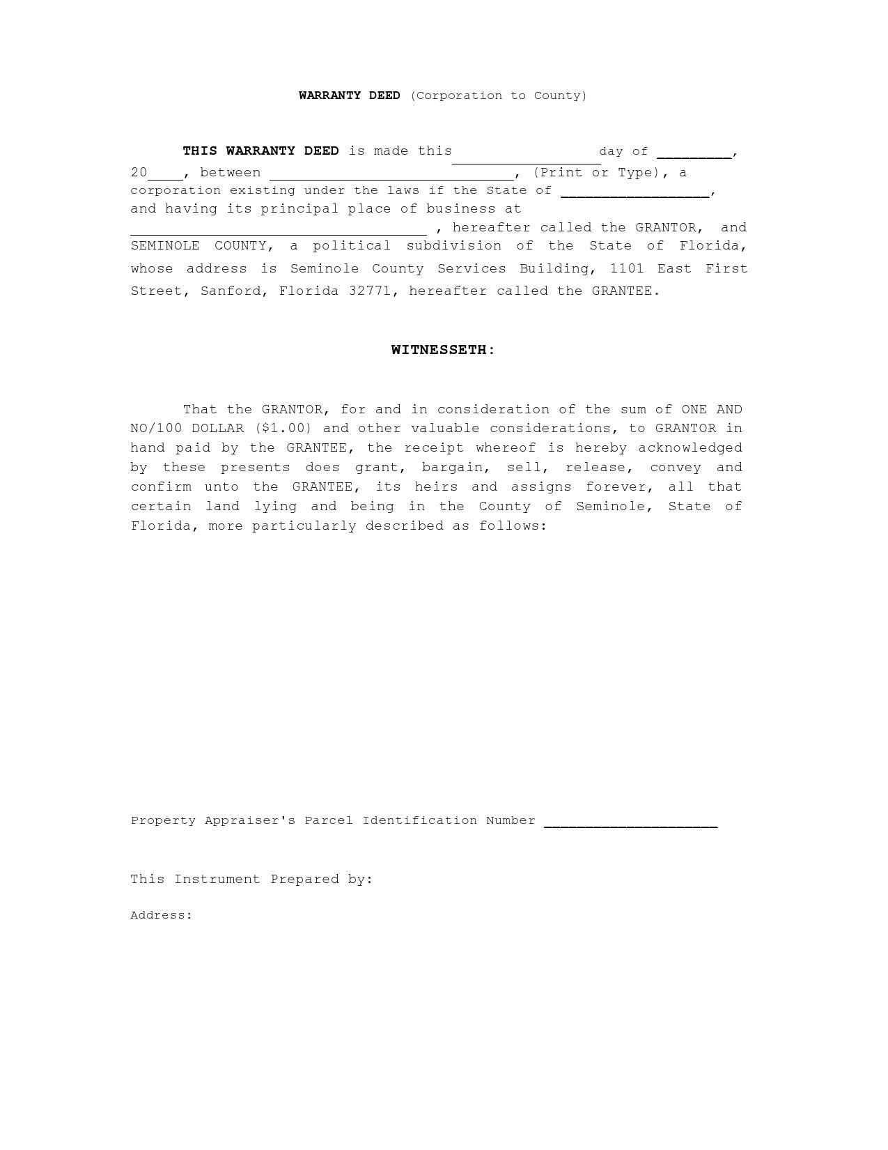 Free warranty deed form 27