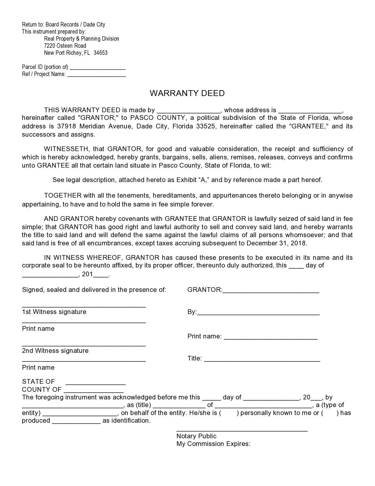Free warranty deed form 28